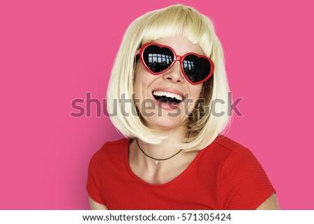 Caucasian Blonde Woman Wearing Sunglasses - Shutterstock ID 571305424