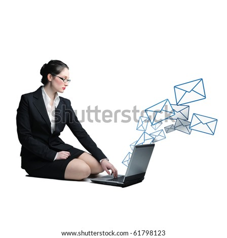 caucasian business woman use laptop to send email