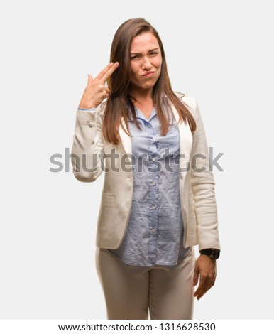 Caucasian business young woman doing a suicide gesture #1316628530