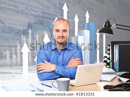 caucasian businessman at work with 3d business chart background