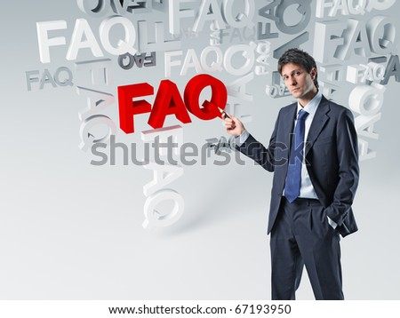 caucasian businessman show 3d faq background