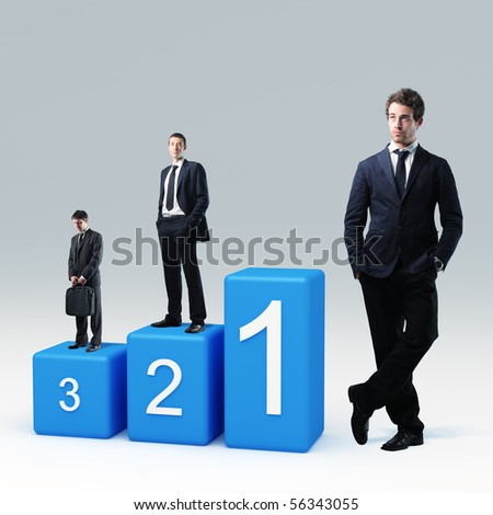 caucasian businesspeople on 3d podium