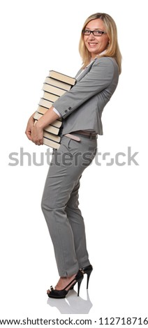 caucasian businesswoman carry lots of books