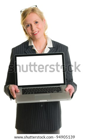 Caucasian businesswoman demonstrate something with laptop, white isolated background.