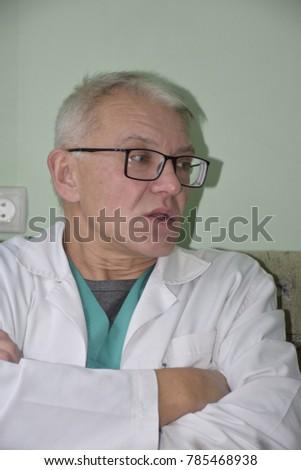 Caucasian caucasian man in medical dressing gown #785468938