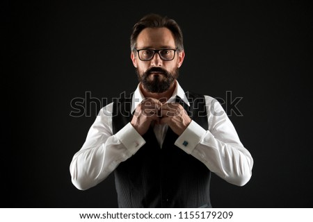 Caucasian concept. Caucasian man button shirt. Caucasian man with beard and mustache. Bearded caucasian businessman. Everything should be perfect. #1155179209