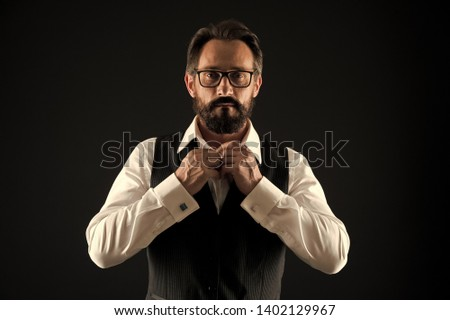 Caucasian concept. Caucasian man button shirt. Caucasian man with beard and mustache. Bearded caucasian businessman. Everything should be perfect.