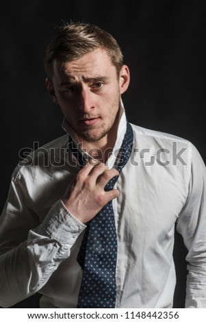 Caucasian concept. Caucasian man with serious face. Caucasian man wear shirt with tie. Handsome caucasian guy. #1148442356