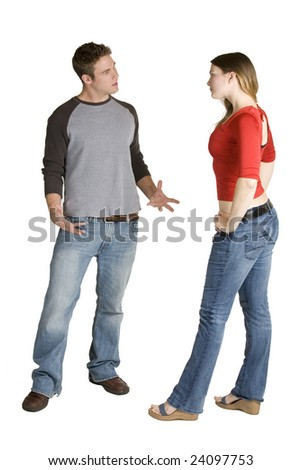 Caucasian couple arguing on a white background