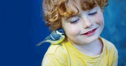 caucasian curly boy and little titmouse, best friends, wild life animal, green peace, blue background, close up, advocacy, safeguard