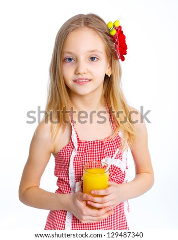 Caucasian cute girl portrait with orange juice drink. Isolated studio on white background