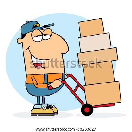 Caucasian Delivery Guy Using A Dolly To Move Boxes - stock photo