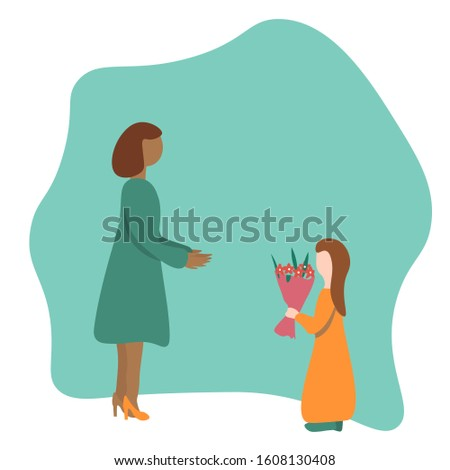 Caucasian girl gives bouquet of flowers to african american woman. Flat Illustration. Concept   adopted child, International Women's Day, mothers Day, teacher's Day.