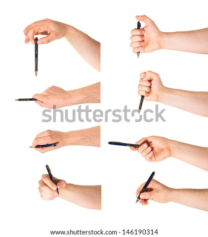 Caucasian hand holding a pen isolated over white background, set of eight foreshortenings