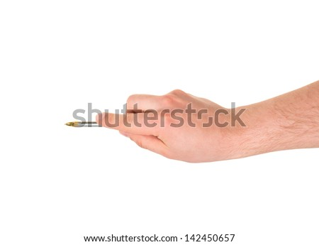 Caucasian hand holding an expensive metal pen isolated over white background