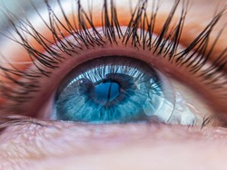 caucasian human blue eye in a contact lens looking up close up. contact lens vision medical correction concept