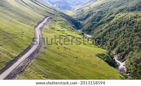 Caucasian landscape. View of mountain road and Balkarsky Cherek rive. Kabardino-Balkaria, Russia. Photo stock ©