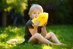 Caucasian little boy with blond hairs eating yellow watermelon on backyard. Seasonal fruits and vegetables for kids.