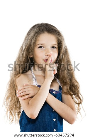caucasian little girl portrait ask silence isolated studio on white background