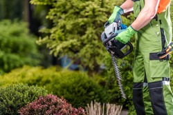 Caucasian Male Gardener Holding Gasoline Cordless Hedge Trimmer Getting Ready To Prune Bushes And Shrubs.