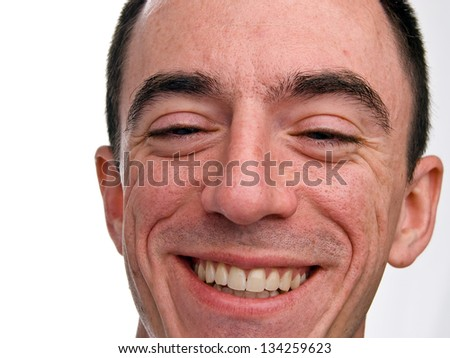 Caucasian Male Headshot laughing - Extreme Closeup