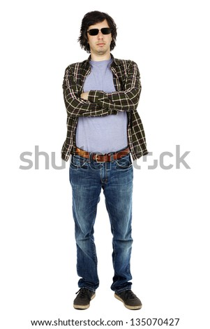 Caucasian male in his early 30's dressed in a casual attire, apparently looking at the camera through his sunglasses with a serious expression. Isolated on white background.