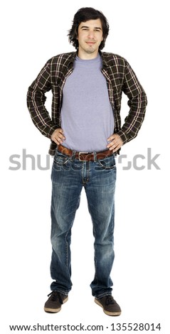 Caucasian male in his early 30's dressed in a casual attire, looking at the camera with a toothless smile, hands on his hips