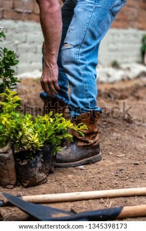 caucasian man gardening in Guatemala #1345398173