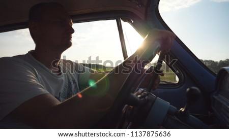 caucasian man holding hands on...