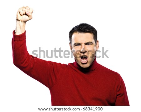 caucasian man revolt man raising fist gesture studio portrait on isolated white background