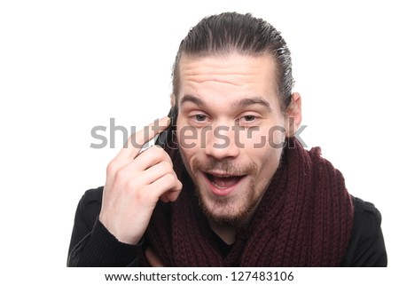 Caucasian man with his telephone - stock photo