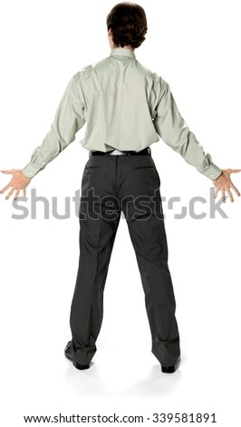 62d9801a09a Caucasian man with short dark brown hair in business casual outfit with  arms open - Isolated