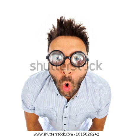 Caucasian man with surprised expression WOW isolated on white background.