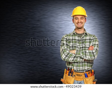 caucasian manual worker and  brushed metal background