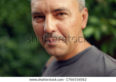 Caucasian mature man close up portrait. Real people authentic lifestyle portrait. Photo stock ©