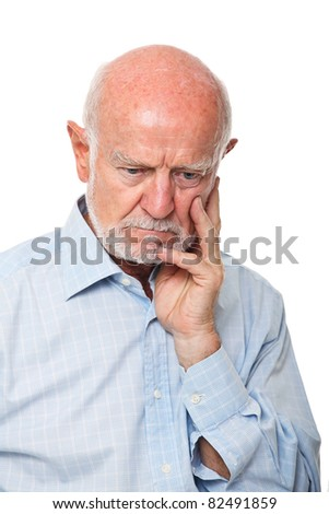 caucasian old man thinking isolated on white