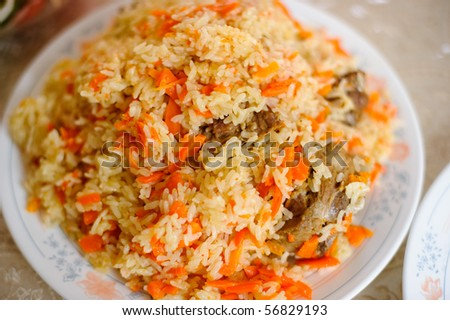Caucasian pilaf - rice with meat