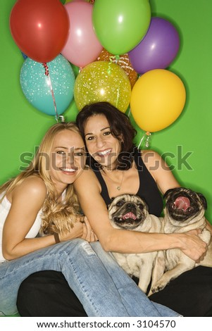 stock photo : Caucasian prime adult and young adult females with small dogs ...