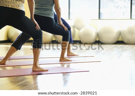Caucasian prime adult females in yoga class