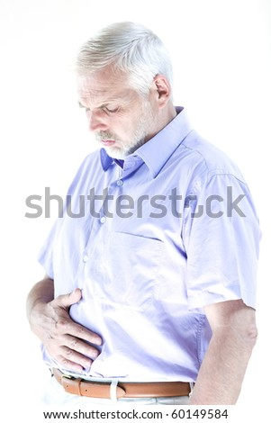 caucasian senior man portrait suffer stomachache isolated studio on white background