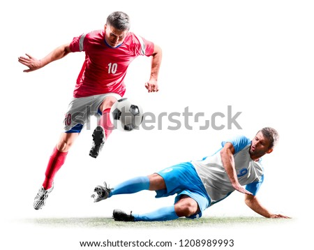 caucasian soccer players isolated on white background