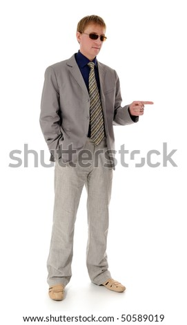 caucasian the young man in a business suit on a white background