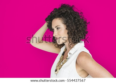 Caucasian Woman Casual Side View #554437567