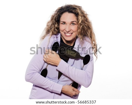 caucasian woman holding scale happy portrait isolated studio on white background
