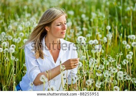 Caucasian woman in spring field