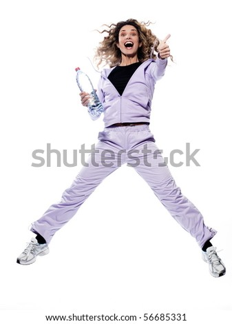 caucasian woman jump thumb up portrait isolated studio on white background