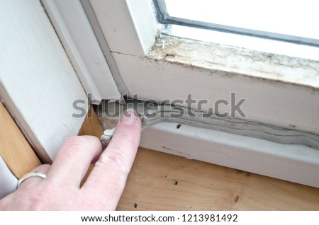 Caucasian woman's hand pressing in grey caulk in old window casement with bare wood windowsill for winterizing to keep out cold drafts and keep energy costs and heating bill down.