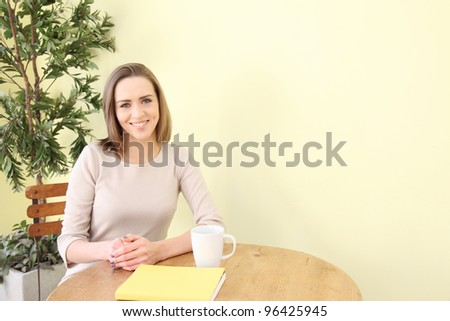 Caucasian woman smiling on the terrace
