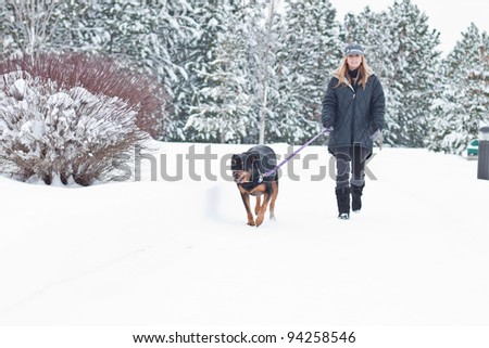 caucasian woman walking a black dog in snow covered path