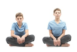 Caucasian 12 years old children boy in a blue t-shirt sitting in a lotus position, full shot composition isolated over the white background, set of two images: tired and focused